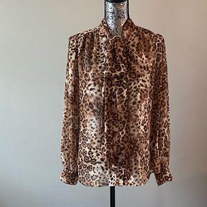 Eva Mendez leopard blouse NWOT